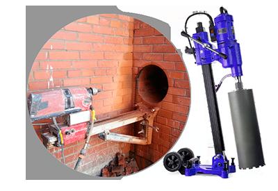 Бурение кирпичной или бетонной стены для подключения к дымоходу